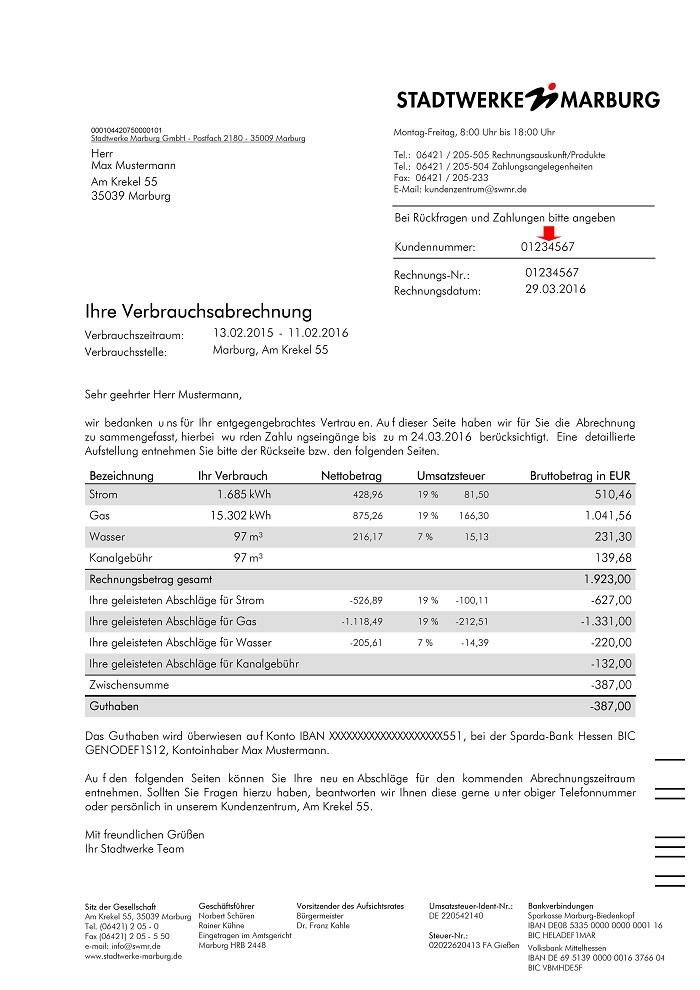 Stadtwerke Marburg: Erklärung der Rechnung